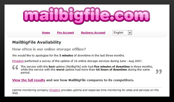 MailBigFile using Pingdom uptime data