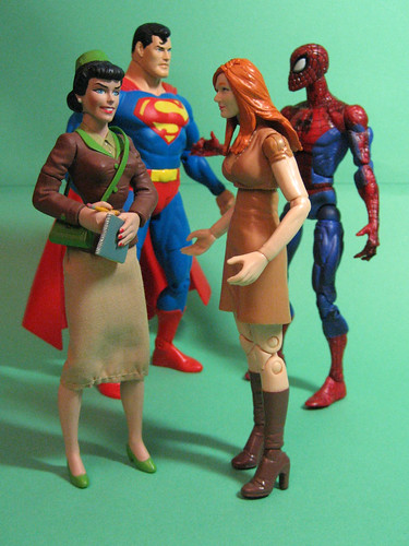 Supes, Spidey, Lois and Mary Jane