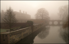 River Cam in the fog (stevehcam) Tags: cambridge hall clare cam kings trinity backs