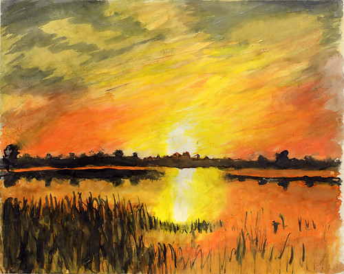 Landscape Sunset Watercolor Paintings O
