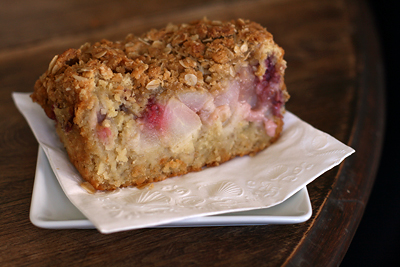 Oat, pear, and raspberry loaf