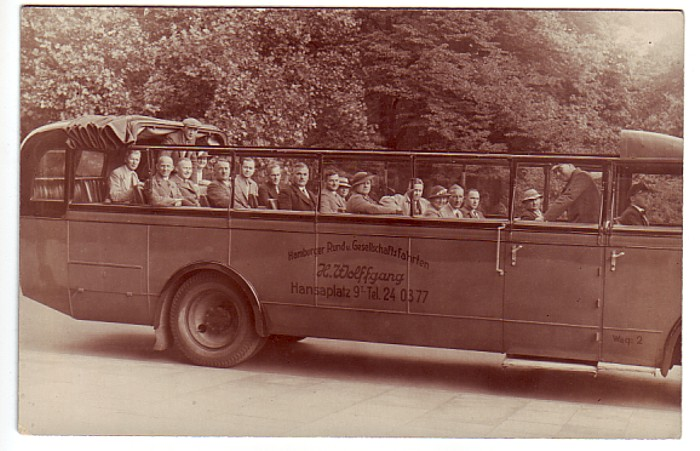 Historische Postkarte: Busunternehmen Wolffgang