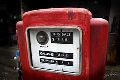 price per gallon (Kris Kros) Tags: california ca old red usa history price photoshop vintage lomo nikon antique cost gas socal dollar kris historical d200 gasoline 2008 per 08 kkg gallon classis cs3 spiraling kros kriskros kk2k kkgallery