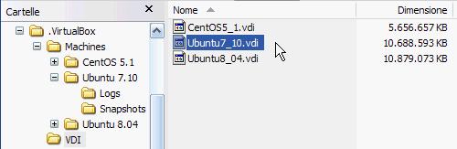 Fig 7 - VirtualBox snapshot - nessun cambiamento al disco rigido virtuale normale