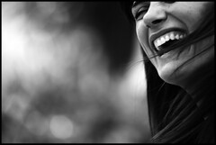 (ArTeTeTrA) Tags: portrait people blackandwhite bw woman girl smile face hair bokeh bn laugh stolen ritratto biancoenero capelli blancinegre risata blancetnoir iloveyoursmile canonef70200f28isusm bwlimage