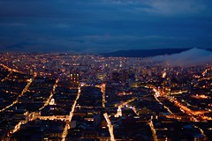 Quito, Ecuador (Jacques Teller) Tags: quito ecuador equateur historiccentre heritage worldheritage light night nightscape nikond7200 jacquesteller dawn longexposure lava clouds streets street blue panecillo virgen view cathedral colonial grid flickr photo