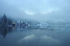 Winter tale (pentars) Tags: lake winter tale mountains clouds cold snow water reflection beautiful landscape scenery view frost pentax k5ii fa 2490
