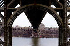 Underbelly of the George Washington Bridge (androosh) Tags: palisadesinterstatepark cycling littleredlighthouse georgewashingtonbridge washingtonheights hudson river