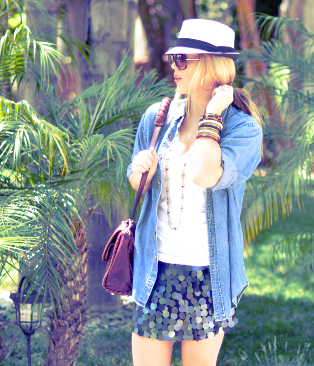 Paillette skirt, Paillettes, denim shirt with  fancy skirt and hat and sunglasses