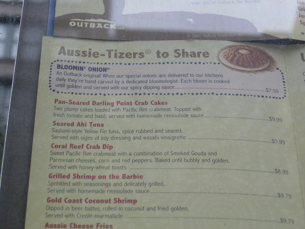Outback on 23rd - Menu