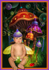 Little Fairy in the Land of Enchanted Mushrooms (Cytosue) Tags: baby photoshop wings bubbles fairy ladybug magical toadstools enchanting irresitablebeauty babyfairy phillipstraub
