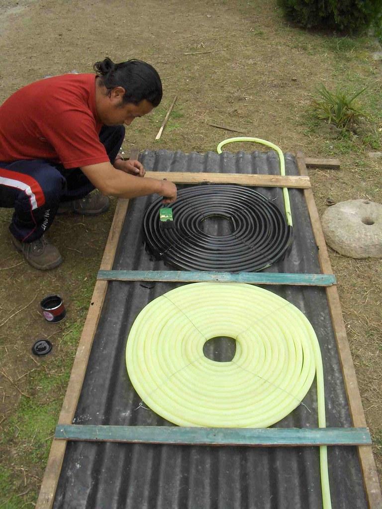working on solar water heater