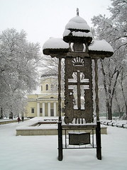 Snowy Saturday in Chiinu - Cathedral Park with traditional shrine and cathedral (jrozwado) Tags: park snow church shrine europe traditional orthodox chisinau moldova traditionalculture folkculture chiinu