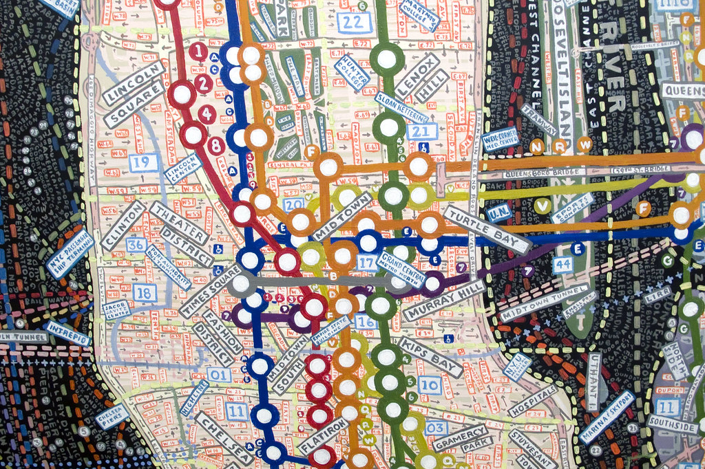 Paula Scher's maps at the Maya Stendhal Gallery