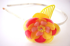 Pink and Yellow Vintage Flowers Headband
