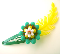 Green, Yellow and Red Vintage Flowers Barrette
