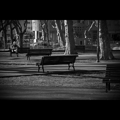 Solitude (trazmumbalde) Tags: park street people bw portugal bench pessoas waiting europe solitude alone time pb rua retired matosinhos challengeyouwinner thereisasmallbirdunderthebench notthatmatters