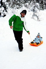 Fun in the Snow (Angel and Boo) Tags: snow child sledge avoriaz