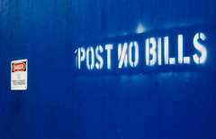 Post Bills On In Reverse (CarbonNYC [in SF!]) Tags: nyc newyorkcity blue newyork stencil colorful manhattan painted text postnobills mistake dyslexia stenciled postbills carbonnyc postonbills carbonsf