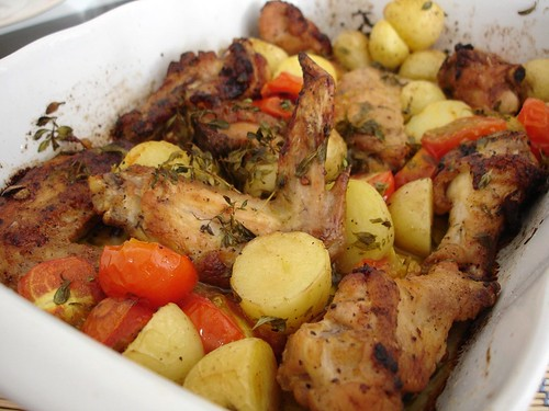 Roast chicken tray bake with tomatoes and potatoes