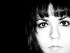 I DoN't HaTe YoU - SkuLL EyEs (SwEeTcHy) Tags: portrait white selfportrait black reflection blanco me hair skull eyes eyelashes negro bn reflejo calavera goldenglobe