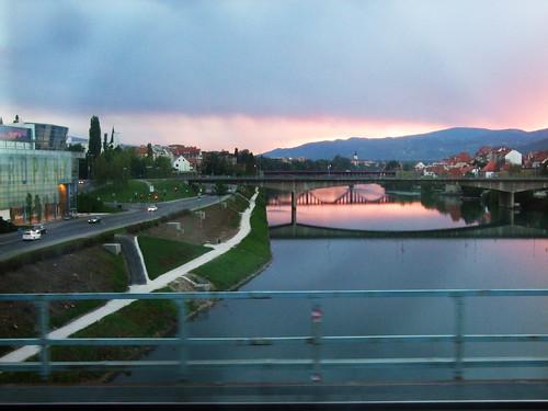 sunset through a train window
