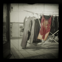 laundry day (hanna.bi) Tags: red 6x6 terrace lace laundry nightdress yashicamat124g 500x500 ttv visiongroup thegardenofzen vision100