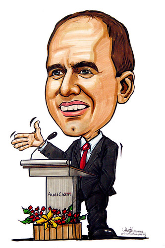 Caricature Austcham president speaking
