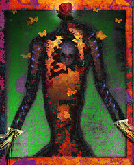 Torso with Lights (Alexiares) Tags: art butterflies surreal wires torso circuitry