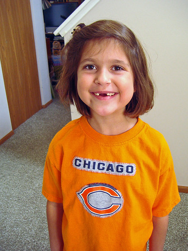 Emma in Bears shirt
