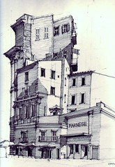 Campo de' Fiori (Flaf) Tags: roof rome pencil garden market drawing balcony parasol piazza baroque gelateria ristorante farnese