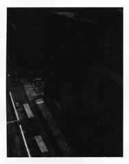 40th Street (Xylographile) Tags: nyc newyorkcity blackandwhite bw newyork cars buses mediumformat polaroid manhattan midtown mta crosswalk birdseyeview madisonavenue instantphotography polaroidlandcamera polaroid660 peelapartfilm instandfilm