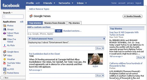 Google News application on Facebook