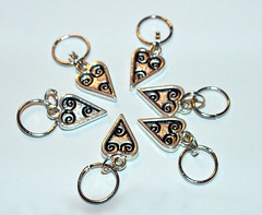 Silver Hearts Stitch Markers