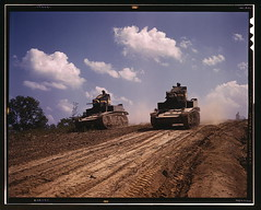 Light tanks, Fort Knox, Ky.  (LOC) (The Library of Congress) Tags: june army war tank fort kentucky military wwii palmer stuart dirt worldwarii ww2 libraryofcongress 1942 m3 fortknox tanks desolation worldwar2 usarmy wartime unitedstatesarmy ftknox m3stuart xmlns:dc=httppurlorgdcelements11 stuarttank dc:identifier=httphdllocgovlocpnpfsac1a35208 alfredtpalmer june1942 alfredpalmer fortknoxky m3stuartlighttank m3stuarttank