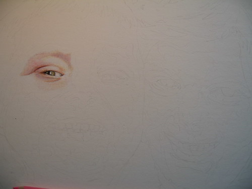 In progress photo of colored pencil portrait entitled Nate & Hannah