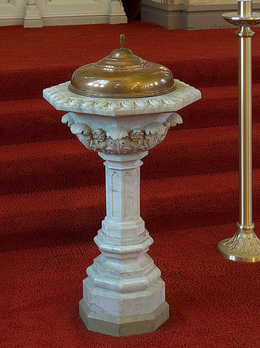 Saint Peter Roman Catholic Church, in Saint Charles, Missouri, USA - baptismal font