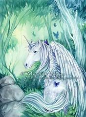 Unicorn watercolor (uminomamori) Tags: horse white green art illustration forest watercolor painting pegasus butterflies fantasy unicorn