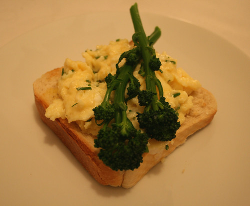 Purple Sprouting Broccoli with Scrambled Duck Eggs and Chives 1