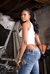 covagirl (cMacSutt) Tags: auto light portrait woman girl car shop garage alien ripped engine machine bee jeans jaguar cart mechanic softbox tool wrench cmacsutt wwwcmacsuttcom