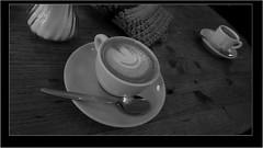 img1693 (rainer_eric) Tags: erlangen cappuccino cafe löffel spoon sugar zucker table tisch monochrom monochrome black white schwarz weis
