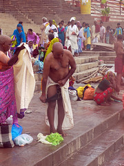 Removing Trunks 1 (amiableguyforyou) Tags: india men up river underwear varanasi bathing dhoti oldmen ganges banaras benaras suriya uttarpradesh ritualbath hindus panche bathingghats ritualbathing langoti dhotar langota