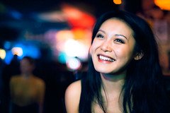 Freda (TGKW) Tags: portrait people woman motion blur colour girl smile bar pub bokeh expression chinese nightlife freda nicensleazy 0663