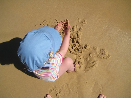 Daphne's first play with sand