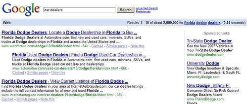 "Behavioral Targeting, Take 2: ""florida dodge dealers"""