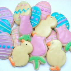 Easter Cookies (nikkicookiebaker) Tags: easter tulips pastel egg chick ducky decorated cookiecookies