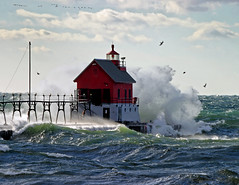 Winds of November 4993-07 (StacyN - MichiganMoments) Tags: november lighthouse storm cold weather photography waves power photos lakemichigan grandhaven naturephotography superbmasterpiece diamondclassphotographer flickrdiamond michigannature stacyniedzwiecki bestnaturetnc07 stacycossolini