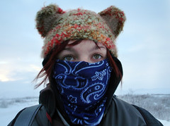 you don't know cold... (cherryvega) Tags: portrait snow cold me cherry crochet north yukon kittyhat winder facemask dempsterhighway bymafic