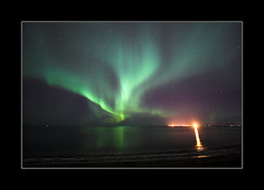 Northern lights over Reykjavik (fredrikholm.se) Tags: lighthouse island iceland islandia reykjavik esja reykjavk sland northernlights auroraborealis nordlys norrsken norurljs auroraboreal abigfave