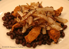 Mexican Chicken Stack-up: Beans, Chicken and Onions